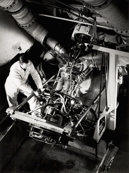 Helicopter Gazelle engine on its tilted test bed at Coronation Road Date