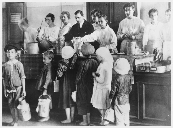 Homeless children of Petrograd receive free dinners at a canteen