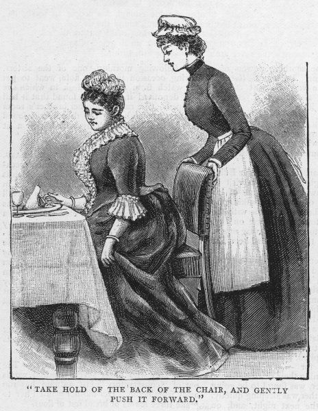 Waiting at table, the maidservant helps her mistress into her place
