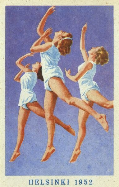 Three female gymnasts used as the subject for a promotional card for the Helsinki Olympic Games of 1952. Date: 1952