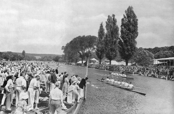 The Zurich eight win the Grand Challenge Cup at the 1936 Henley Regatta, with the Leander crew in second place. Described at the time as 'probably the fastest crew that ever rowed at Henley', the Zurich crew included three Homberger brothers