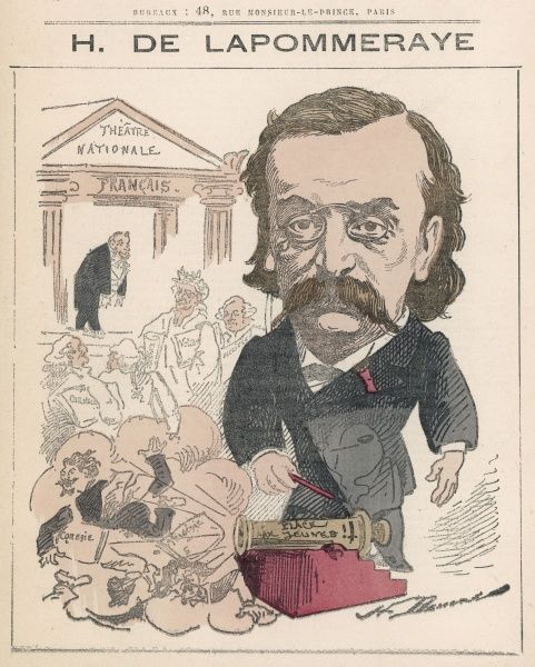 Henri de Lapommeraye (1839-1891) lawyer, man of letters, art and theatre critic and judging by the cartoon a critic of new comedy productions