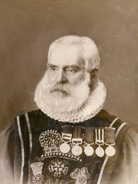 Sergeant-Major Henry Bakerlate of the 61st Regiment, Yeoman of the Guard. he enlisted in 1842, and is still in good health on the occasion of his 83rd birthday, when he was congratulated by King Edward VII on his long and useful life. Seen here in his uniform