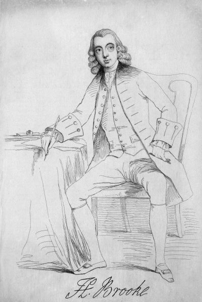 HENRY BROOKE Irish writer of novels and plays including 'The fool of quality', seated at a table, writing. with his autograph Date: 1703 - 1783
