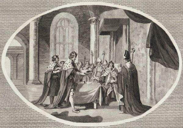 "Henry II after having his son Henry crowned ""The Young King"", serves the new king his first dish to his table"