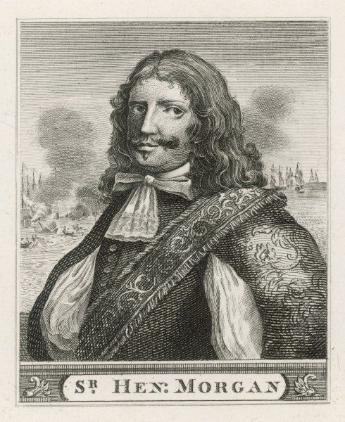 Sir Henry Morgan, a Welsh buccaneer in the English service, carrying out many raids on the Spanish, favoured by Charles II and appointed Governor of Jamaica