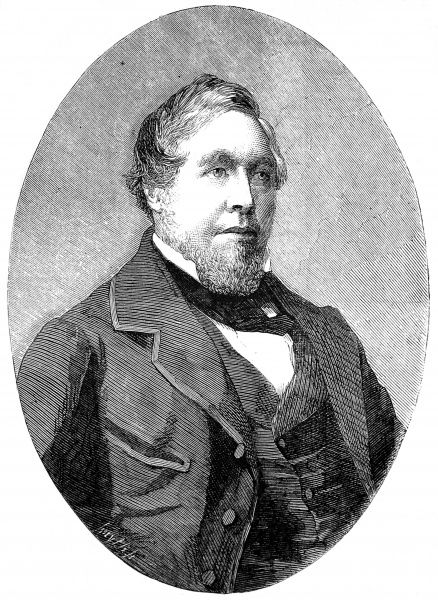 Engraved portrait of Henry Thomas Hope (1808-1862), the English politician and businessman, pictured in 1858. At that time Hope was serving as Chairman of the Eastern Steam Navigation Company