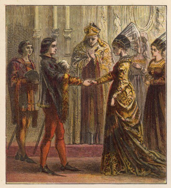 The marriage of Henry V of England and Catherine de Valois, the daughter of Charles VI of France