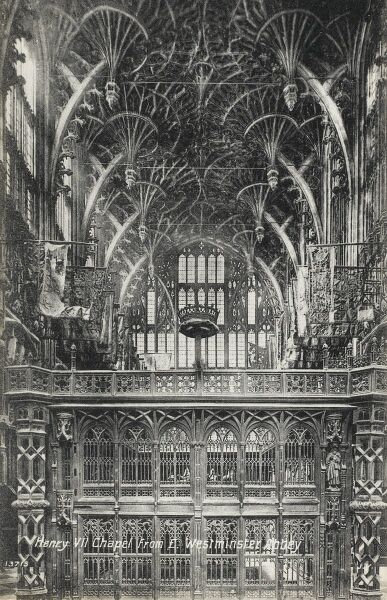 Henry VII Lady Chapel, Westminster Abbey, London. A large Lady chapel at the far eastern end of Westminster Abbey built in the Perpendicular Gothic style