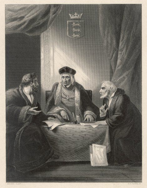 Henry VII in discussion with his ministers Richard Empson and Edmund Dudley