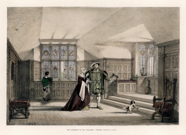 HENRY VIII with Anne Boleyn, his mistress, in the Gallery at Hever Castle, Kent