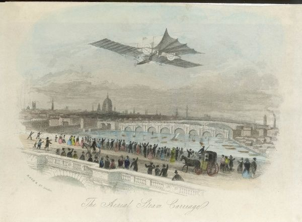 William Samuel Henson along with John Stringfellow designed the Aerial Steam Carriage. Prints like this foretold a success that was sadly not forthcoming