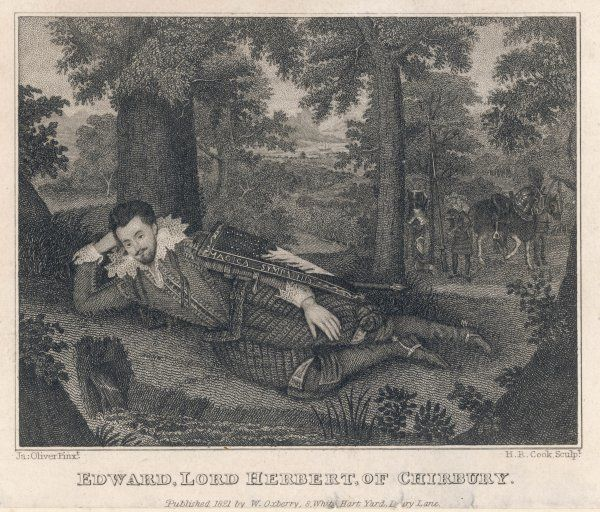 EDWARD, LORD HERBERT 1st BARON HERBERT OF CHERBURY English philosopher and diplomat resting while hunting in a wood