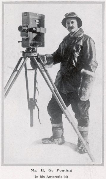 Herbert Ponting (1870 - 1935), photographer best known for capturing the ill-fated Scott expedition to the South Pole, 1910 - 1913, pictured in his Antarctic kit in January 1912