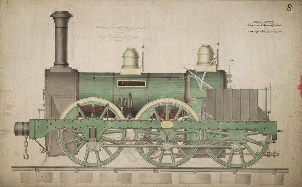 Hercules, locomotive luggage engine, side elevation Date: 1844