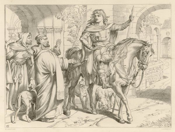 HEREWARD THE WAKE Hereward, on horseback, informs his uncle, the Prior, that he is about to be outlawed