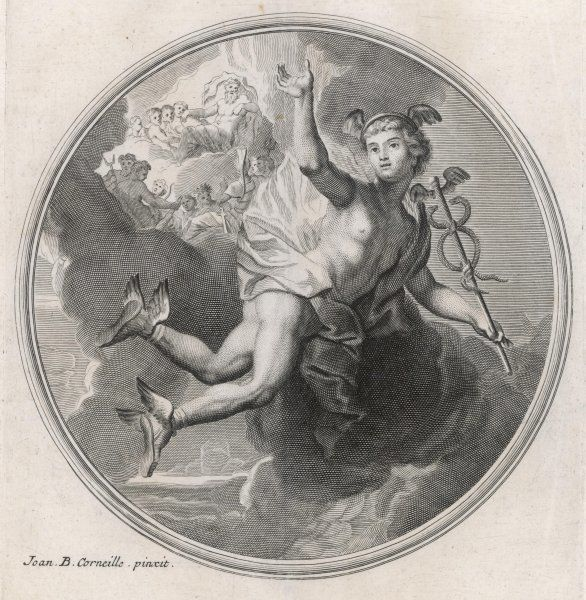 airborne, thanks to his winged shoes ; he carries a caduceus, with which he can send anyone to sleep at a touch