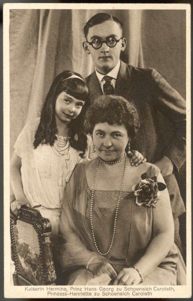 HERMINE OF SCHOENAICH CAROLATH also known as HERMINE OF REUSS, second wife of Kaiser Wilhelm II. Photographed with two of her relatives, HANS GEORG AND HENRIETTE