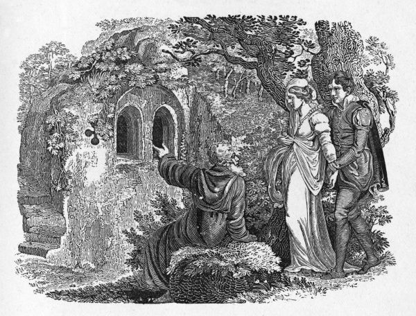 'The Hermit of Warkworth' (Northumberland) - the scene in the traditional ballad where the lovers approach the hermit. Date