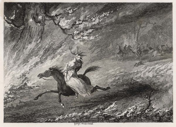 HERNE THE HUNTER Herne flying into the burning woods with Mabel
