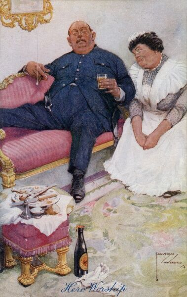 'Hero Worship' - a postcard by Lawson Wood showing a housewife doting on her portly husband (bursting out of his uniform), having served him a meal and provided him with an ale and a comfy chair! The effects of joining up!