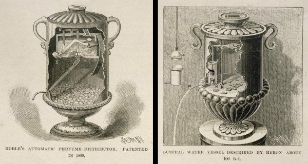 Coin-in-the-slot scent dispenser, patented 1889, operates on the same principles as holy water dispenser by Hero of Alexandria in 1st century AD