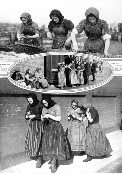Photographs showing three views of fisher women who worked for the herring fleet on the East coast of Britain in 1913