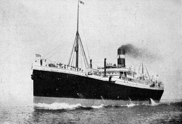 The liner, 'Hesperian' sunk by a German submarine off the Irish south coast on September 4th 1915 on a voyage from Liverpool to Montreal