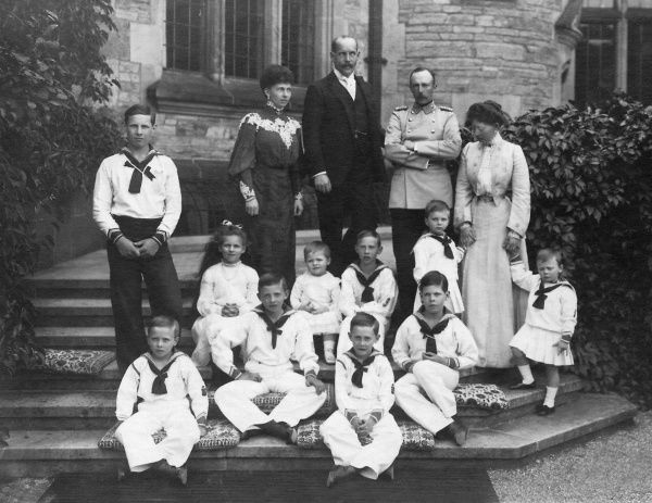 The youngest daughters of Vicky, Princess Royal of Great Britain and Empress of Prussia, the Princesses Sophie and Margarete of Prussia with their husbands and children at Friedrichshof in 1904