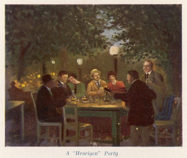 A 'heurigen' party in the garden of a suburban inn, Vienna, where the new year's wine is drunk by the litre