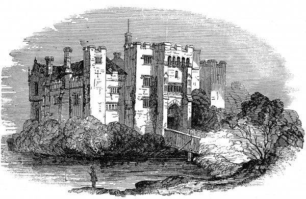 Engraving of Hever Castle, Kent. The oldest part of the castle dates from 1270 and is most famous as the residence of Anne Boleyn