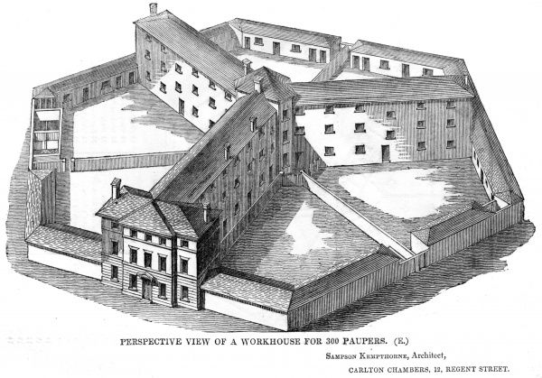 Perspective view of the model hexagon (or Y-plan) workhouse design by Sampson Kempthorne, issued by the Poor Law Commissioners