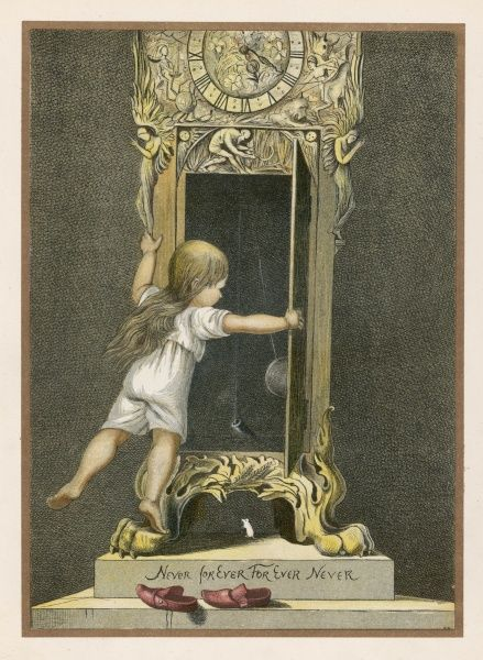 A child watches the swinging pendulum of the grandfather clock