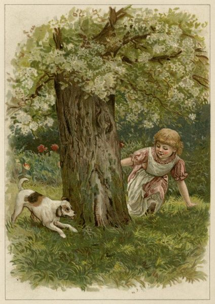 A small girl plays hide-and- seek round a tree with her dog. Date: 1890