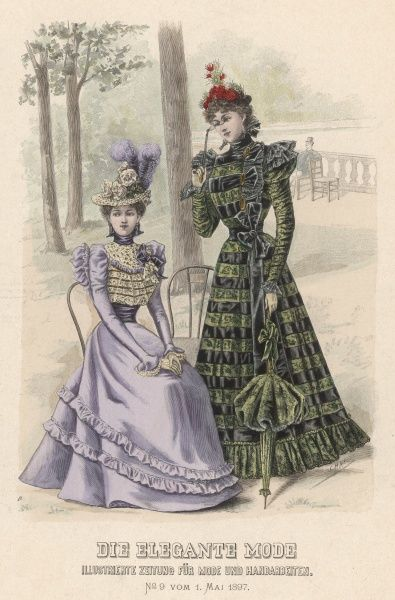 Two women: one seated in lilac lace-trimmed dress, the other in green lace and satin stripes with matching parasol