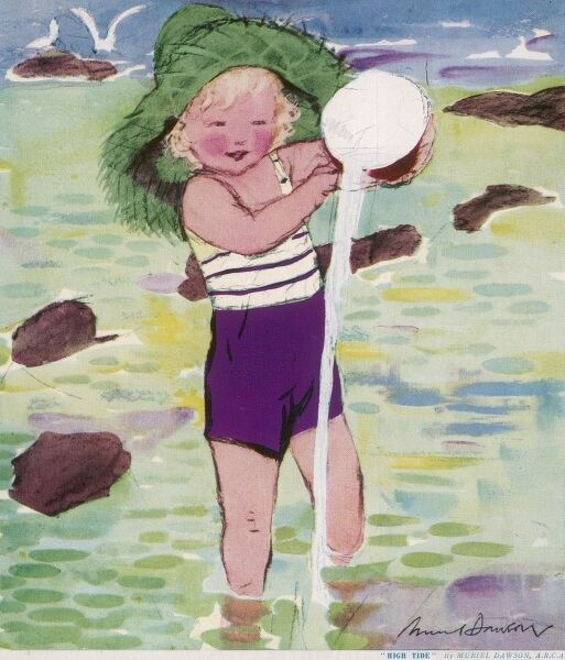 A child in a striped bathing suit and large green straw hat, has fun in the sea playing with a bucket. Date: c.1930
