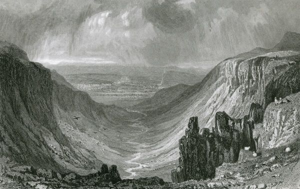 Highcup Gill, Cumbria, with Appleby in the distance Date: 1832