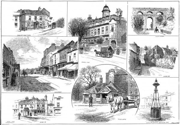 Engraving showing a number of sketches of Highgate, in North London, 1888