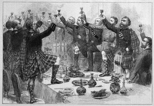 Scotsmen drink the health of the duke of Rothsay, with Highland Honours