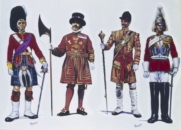 (Left to right) Officer from the Gordon Highlanders - A Yeoman Warder of the Tower of London (Yeoman Gaoler) - Drum Major from The Grenadier Guards - Corporal from The Life Guards. Painting by Malcolm Greensmith