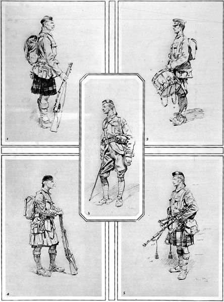 An illustration by French military painter, M. Georges Scott, showing members of the Scottish regiments, 'most feared by the Germans&#39