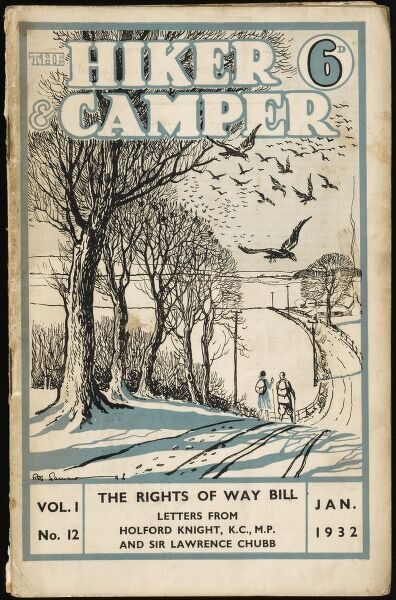 Front cover of a magazine devoted to hikers, ramblers and campers featuring a couple out walking through the countryside on a snowy winter's day