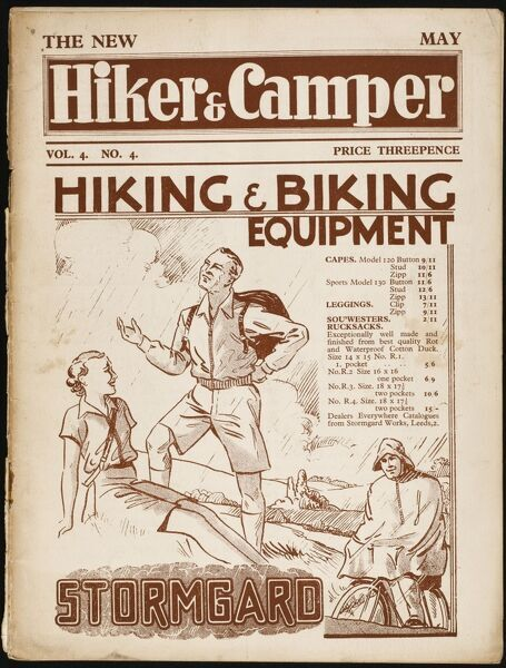 Front cover of The Hiker and Camper, the magazine advising on one of the premier hobbies of the thirties. Feature an advertisement for Stormgard capes, sou'westers, rucksacks