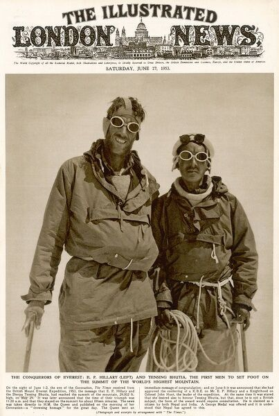Front cover of The Illustrated London News showing Sir Edmund Hillary together with Sherpa Tensing Bhutia reaching the summit of Mount Everest on May 29 1953