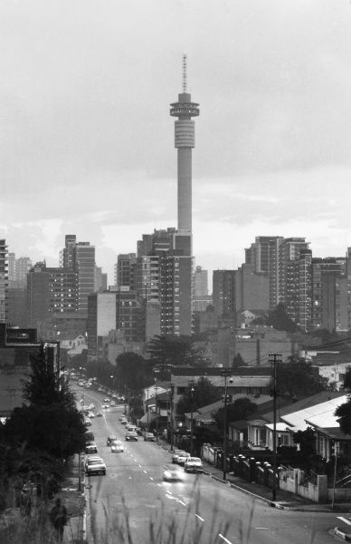 Hillbrow Tower (built 1968 - 1971) dominating the Hillbrow district of Johannesburg, South Africa. Date: early 1970s