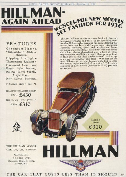 Hillman announces its models for next year - dipping headlights, and 'Silentbloc' oil-less shackles at no extra cost !