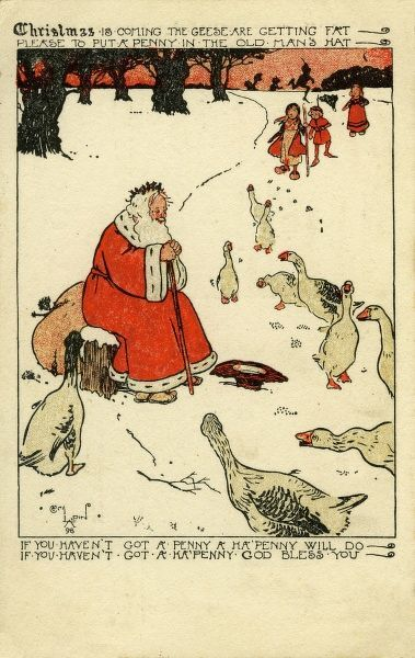 "Illustration by Cecil Aldin depicting a kindly Father Christmas reciting the traditional song, ""Christmas is Coming, the Goose is getting Fat"" to a gaggle of obviously dim geese"