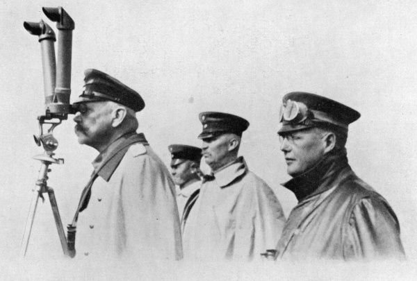 PAUL VON HINDENBURG German General and statesman with General Ludendorff and Oberst Hoffmann (right) in Poland