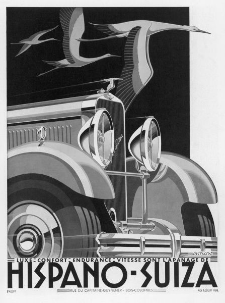Superb 'modern art' publicity for this renowned marque which more than any other symbolised the great age of motoring