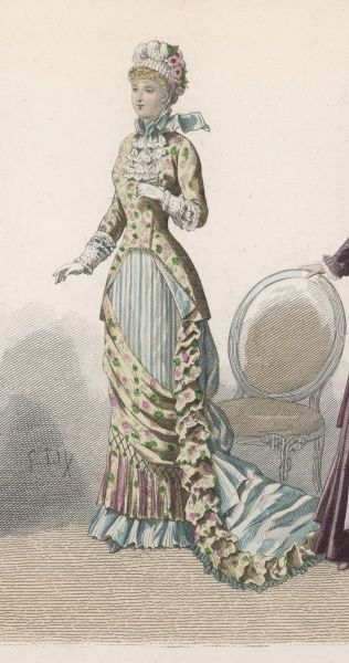 Coat bodice, basques well over the hips, double-breasted, cut-away at the front & trimmed with cord; straight skirt with vertical stripes, train & diagonal drapery